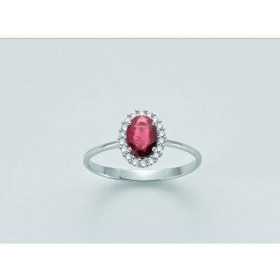 Anello Miluna in oro 18 kt con Rubino e Diamanti n 18 Pt tot 13,5