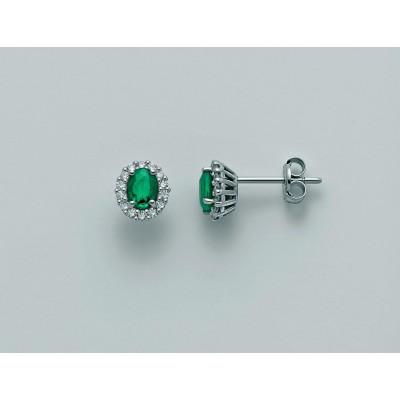 Orecchini Miluna in oro 18 kt con Smeraldo e diamanti Pt 21