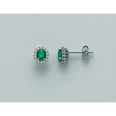 Anello Miluna in oro 18 kt con Smeraldo e Diamanti n 18 Pt tot 13,50