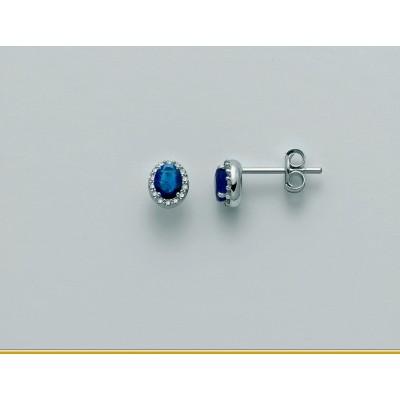 Orecchini Miluna in oro 18 kt con Zaffiri e diamanti Pt 21