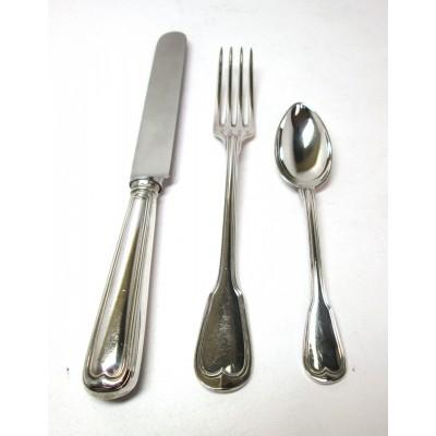 Servizio di posate in argento 800 d'epoca anni '60 stile mauriziano usato.