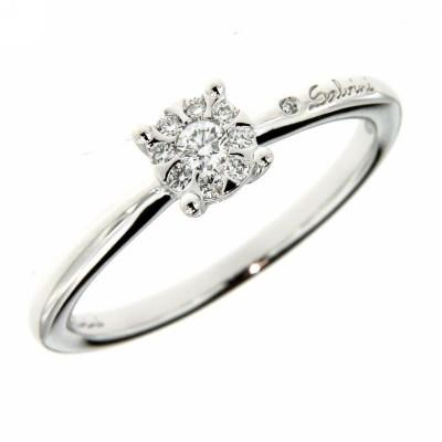 Anello Solitario Salvini Collezione Daphne in oro bianco 18 kt e diamanti ct 0,012