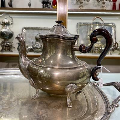 Theiera argento D'epoca 800 fatta a mano con manici in legno