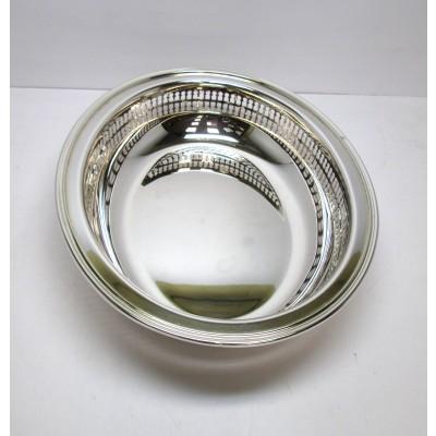 Piatto ovale, in argento, usato, lavorazione moderna, con laterale traforato