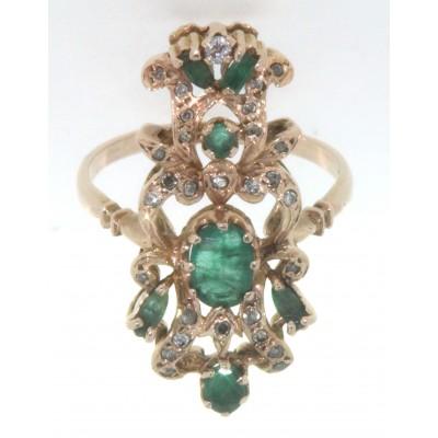 Anello D'epoca  in oro giallo 12 kt in stile antico con smeraldi e diamanti  usato