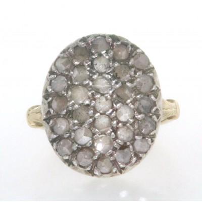 Anello D'epoca in oro giallo 18 kt e argento in stile antico con diamanti taglio rosetta