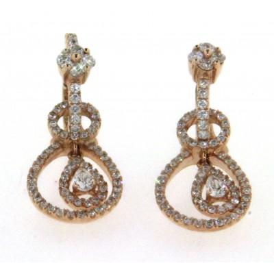 Paio di orecchini in oro rosa 18 kt, ciondolo estraibile, con diamanti