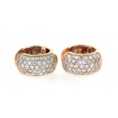 Orecchini in oro rosa 18 kt, con pavè di diamanti
