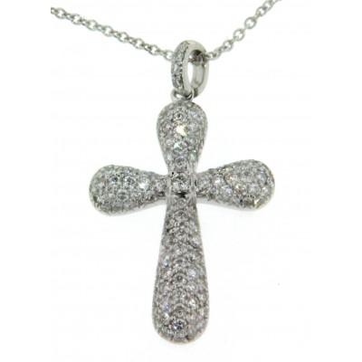 Girocollo in oro bianco 18 kt, con ciondolo a croce con pavè di diamanti
