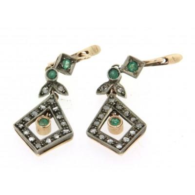 Orecchini in oro 12 kt con smeraldi e diamanti
