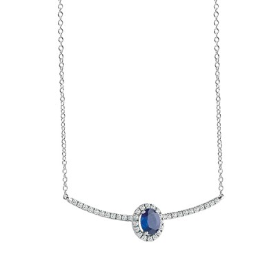 "Collier ""ESSENTIAL COLOUR"" Salvini in oro bianco con diamanti ct. 0,017 e zaffiro ct. 0,38 peso 2,40"