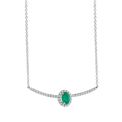 "Collier ""ESSENTIAL COLOUR"" Salvini in oro bianco con diamanti ct. 0,17 e zaffiro ct. 0,30 peso gr. 2,40"