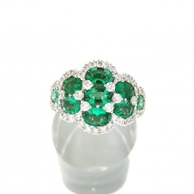 """Anello """"MONTEREY"""" di Salvini, in oro bianco 18 Kt, diamanti ct 0,78, smeraldi 0,215"""