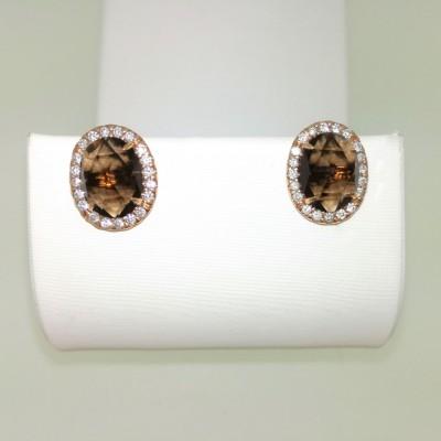Orecchini in oro giallo 18 Kt con diamanti 0,28 ct e quarzo 2,20 ct. Peso 4,16 gr