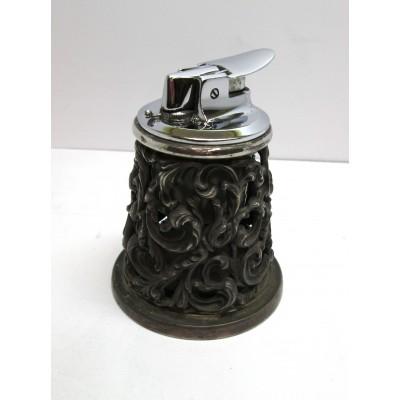 Accendino da tavolo Ronson, made in Germania, in acciaio, con contenitore in argento, fondo in legno, usato, anni '50