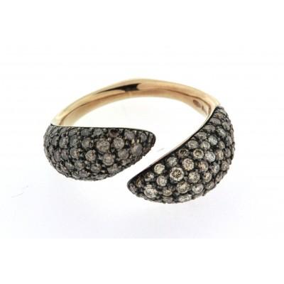 Anello a forma di cuore, linea Ice Diamond, in oro rosa con diamanti fancy brown e fancy yellow