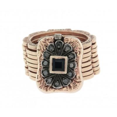 Anello/bracciale in oro 12 kt e argento, in stile antico, con zaffiro e diamanti