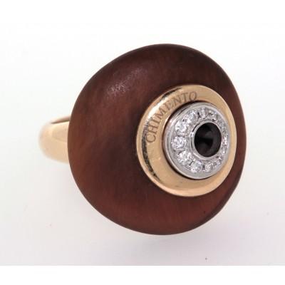 Anello usato Chimento in oro giallo 18 kt con diamanti e legno fossile
