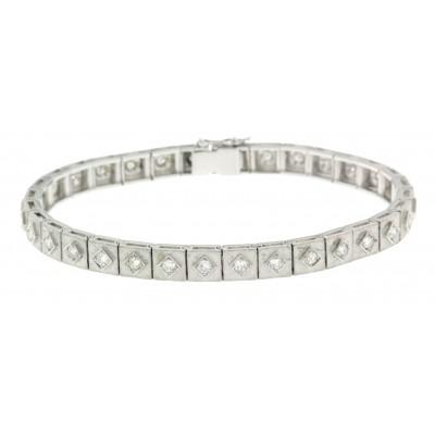 Bracciale usato, d'epoca, in oro bianco e diamanti, anni '50/'60