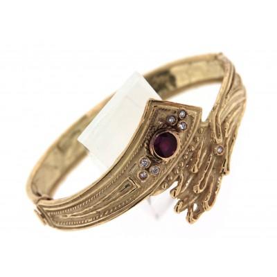 Bracciale in oro con lavorazione artigianale a cera persa, con diamanti e rubino