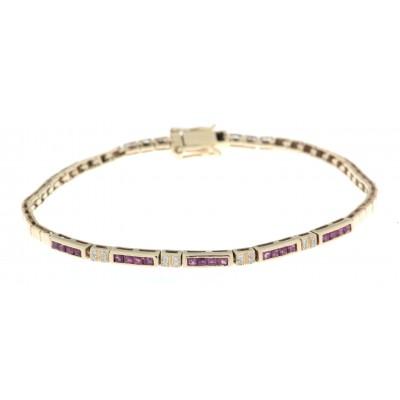 Bracciale in oro giallo anni '80/'90 con rubini e diamanti