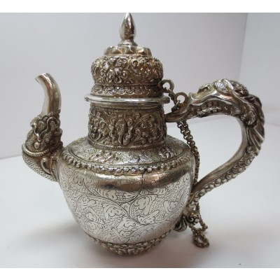 Caffettiera indiana in argento 900 d'epoca