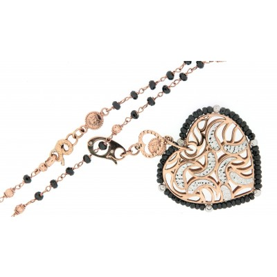 Collana più ciondolo, usati, in oro rosa e bianco, marca Sunday, manifattura vicentina con spinelli neri naturali
