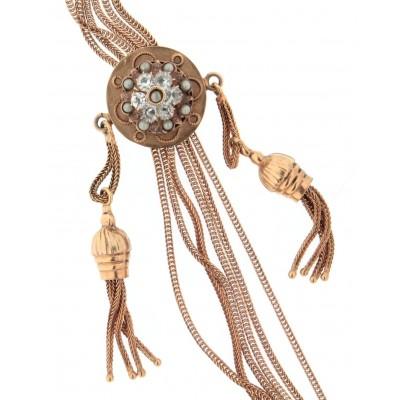 Collana usata, d'epoca, dei primi del '900, in oro 12 kt, a sei fili, con saliscendi con zaffiri bianchi e mezzeperline, misura cm 62, gr. 42,10