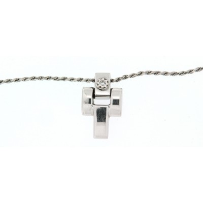 Girocollo Chimento, in oro bianco con croce con un diamante, taglio brillante usato
