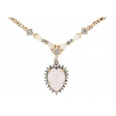Girocollo usato, anni '70/'80, con centrale pendente, con opali e diamanti