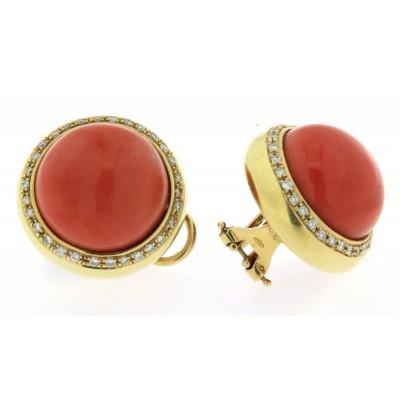 Paio di orecchini in oro 18 kt con corallo e diamanti anni '70