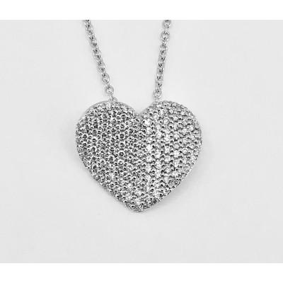 Collana in oro bianco 18 kt con ciondolo a cuore con diamanti