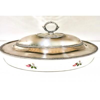 Porta vivande argento 800 e ceramica  usato d'Aquitaine(France)