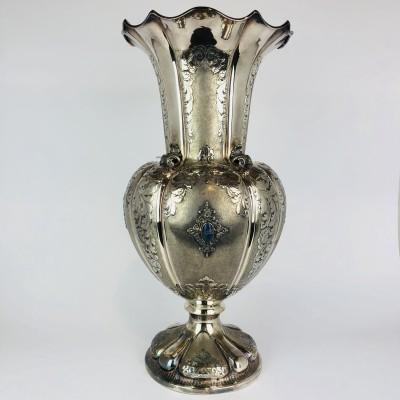 Vaso argento 800, usato con pietre Lapis ai lati (Cabouschon) anni 50 circa.