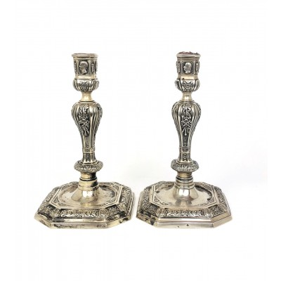 Due porta candela argento 925/000, stile antico.
