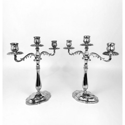 Due candelieri in argento 800 stile moderno bollo 77PA