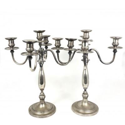 Due candelieri arg.800 usati a 5 fuochi bollo FI515