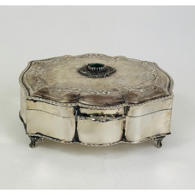 Portagioie in argento 800 agata verde incastonata