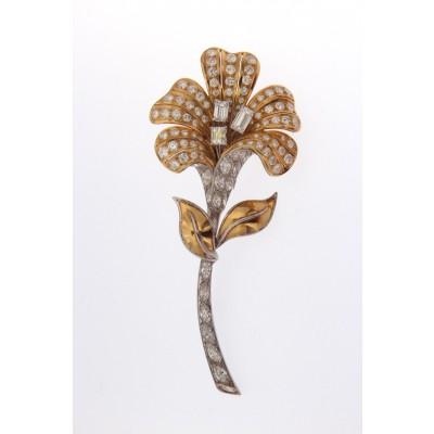 Spilla in oro bicolore 750 a fiore con diamanti