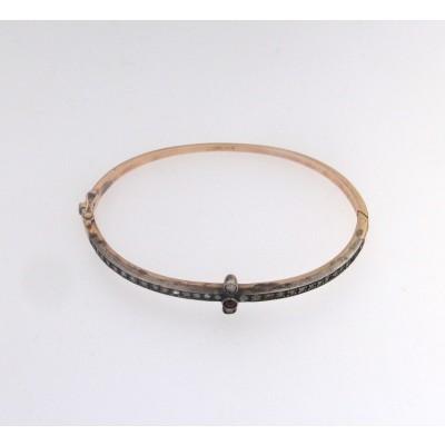 Bracciale ovale oro 500+argento con rosette e pietra rossa centrale più due brillanti  usato