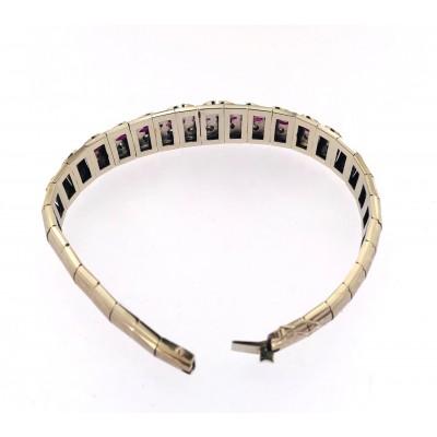 Brcciale in oro bianco 18 kt anni 70 con brillanti e pietre navet semipreziose misura cm.18,50 usato