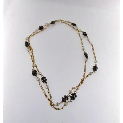 Collana in oro 18 kt con perle e zaffiri blu usata