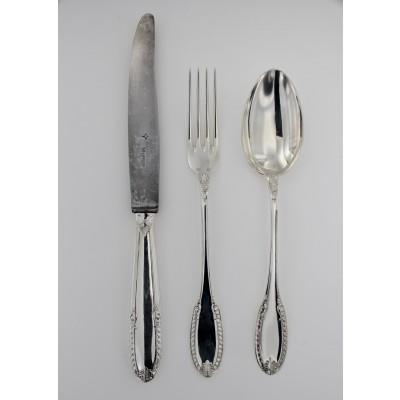 Servizio posate d'epoca da tavola in argento 800