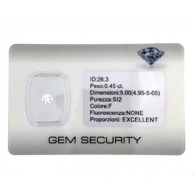 Diamante in Blister certificato Ct.0.45