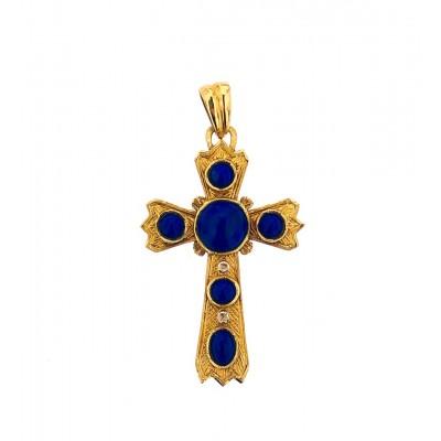 Ciondolo a croce in oro 18 kt con lapislazzuli blu