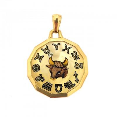 Ciondolo oro 750/1000 e madreperla segno zodiacale Toro usato