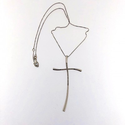 Collana oro bianco 750/1000 con brillanti Usata