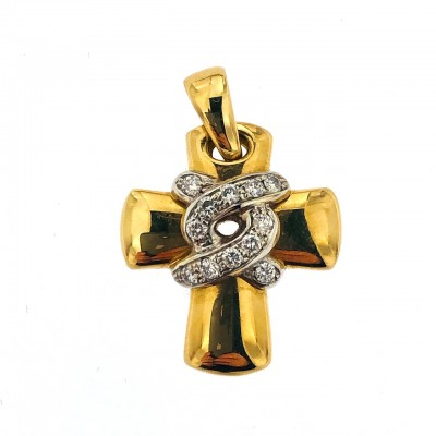 Ciondolo in oro giallo18 kt con brillanti firmato Chimento