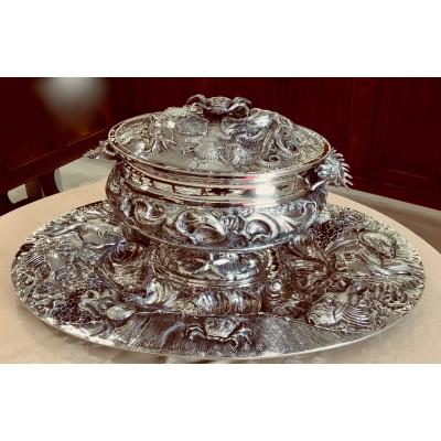 Zuppiera con piatto in argento 800 Bollo 628FI disegno di Gerardo Sacco Pezzo unico