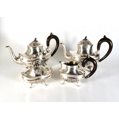 Servizio 4 pezzi da The Caffè Lattiera e Zuccheriera D'epoca in argento 800